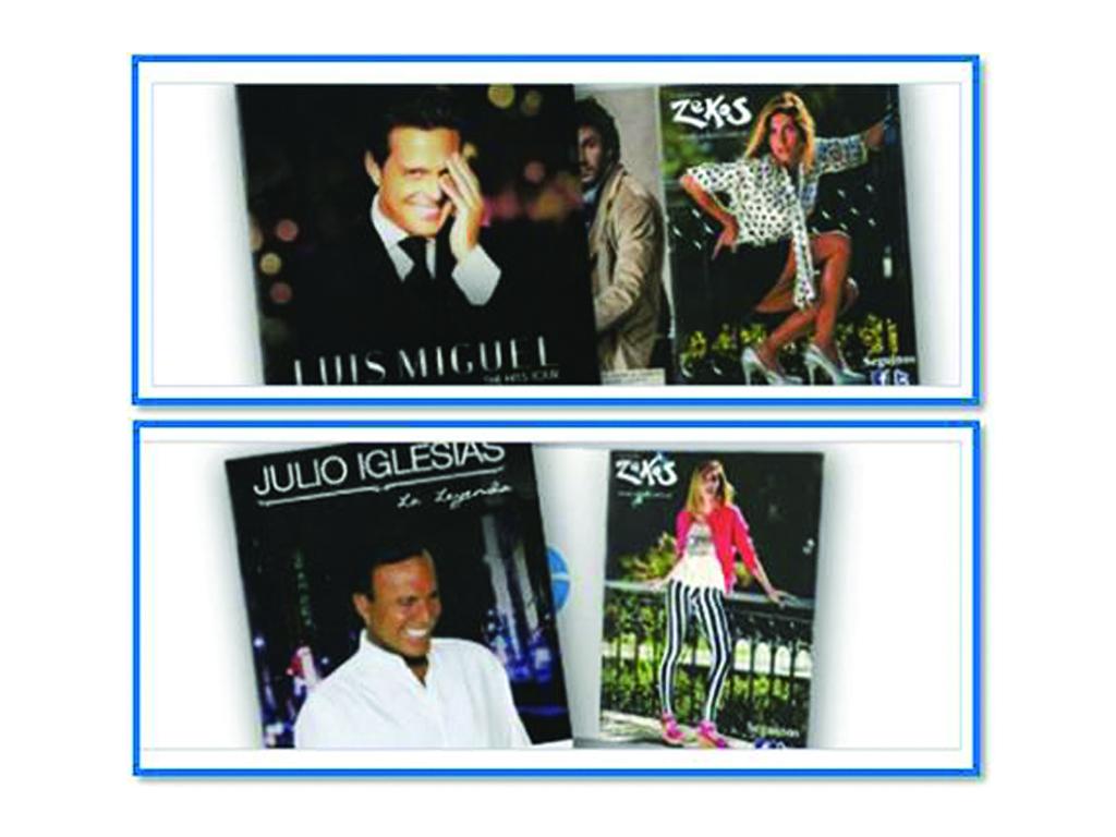 Publicidad en programas de recitales: Julio Iglesias, Luis Miguel